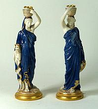 Royal Worcester pair of figures Modelled in the form of Grecian water colle