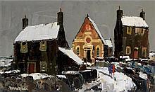 Donald McIntyre RI RCA (British, 1923-2009) - 'Bodedern in Winter II' Oil o
