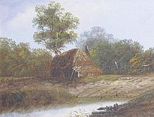 Attributed to Charles Greville Morris (British 1861-1922), ''Hut by Marshla