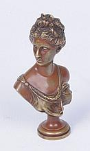 A small bronze bust of Diana the Huntress, after Ferdinand Barbedienne, 19t