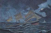 19th Century British School, ''Royal Charter Sighting Iceberg'' Painted dep
