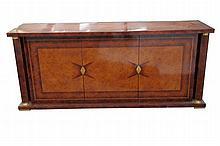 A contemporary Italian veneered sideboard The rectangular top above three c