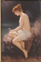 A beautiful KPM Berlin porcelain plaque painted with a water fairy, circa 1