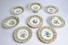 A 19th Century English porcelain dessert service Comprising a high comport