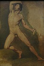 19th Century Italian School, ''Male Nude'' The full length painting in the