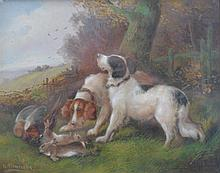 R Fleming (British late 19th early 20th Century School)''Retrievers with Pheasants and Rabbits''  Oil on canvas, 19.5x24.5cms.
