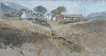 Malcolm Edwards (Welsh, active from 1980) ''The Welsh farm house'' Watercolour, signed and dated 83. 31.5x59cms (illustrated)