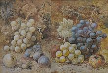 D Harrison ''Still life grapes and apples'' A pair of watercolours, signed and dated 1894, mounted and framed. 27.5x20cms.
