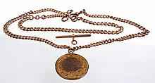 A 9ct rose gold flat curb link Albert chain and medal The medal for the Cheshire County Amateur Bowling Association and dated 1911.  Gross weight 47.1 grams.