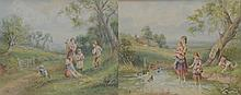 After M Birket Foster ''Children standing in a stream with ducks'' Watercolour, signed with initials and a companion ''Gathering Spring Flowers'', each mounted and framed, 18x25cms. (2)