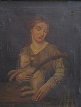 European School (19th Century) ''St Margaret and a Lamb'' Oil on canvas, 47x37cms, framed.