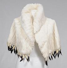 A circa 1930's white ermine cape Silk lined with feature button detailing to front and tail tassels to hem.