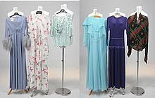 Various outfits dating from the 1970's by various designers Including John Marks, Frank Usher, John Childs and a Jeff Banks of London graphic chiffon shirt, various sizes ranging from a modern equivalent size 8 to size 10 (6).