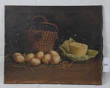 W Nicholson (British) still life 'wicker basket and eggs' Oil on canvas signed and dated 03, 43 x 52cm.