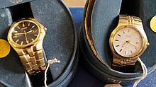 Citizen: Two gold tone bracelet strap wristwatches