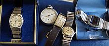 Seiko: A Gents quartz bracelet wrist watch, togeth