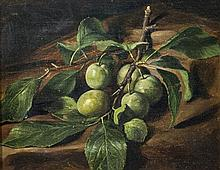 George Henry Hall (American, 1825-1913) Still life of greengages on a tableoil on canvas,