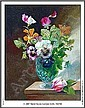 Oil on canvas - Still life study of flowers by A.Debrus