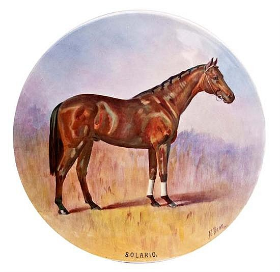 A handpainted Minton plaque by James Edwin Dean a portrait of the racehorse 'Solario', oil on porcelain,