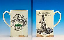A rare St Patrick's Club creamware tankard of cylindrical form with c-scroll handle, incised circle to centre of base,