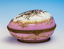 A large Limoges Le Tallec gilt metal mounted porcelain egg early 20th century, the hinged egg with pierced fan and scroll thumbpiece,