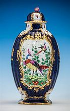 A Continental blue scale ground vase and cover in the manner of Worcester, 19th century,
