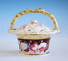 An early 19th century porcelain pot pourri basket - possibly Nantgarw of tapered circular form with slightly domed,