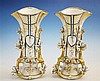 A pair of Continental porcelain spill vases 19th century, trumpet form, flared, gilt lined quatrefoil rims,