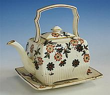 A Ridgeway china teapot late 19th century, of cube form, Kyoto floral style decoration, vertically ridged base,