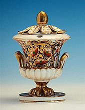 A Derby porcelain campana urn form ink stand of urn form, early 19th century, of twin handled campana urn form,