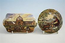 Two 19th century Prattware pot lids 'The Great Exhibition' of rectangular form with convex sides, 5½in. (14cm.) wide,