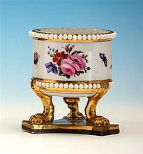 A Flight Barr & Barr porcelain urn on stand the circular urn with beaded borders, decorated with floral sprays and butterflies,