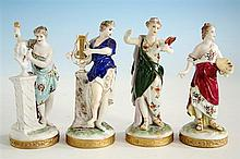 A set of four Volkstedt porcelain figures emblematic of the Arts and Music late 19th century, each lady wearing classical dress,