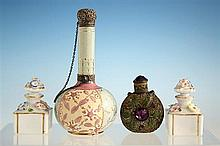 A pair of French porcelain miniature scent bottles late 19th century,