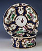 A first period Worcester blue scale ground butter dish, cover and stand c.1765, all with blue square seal marks,