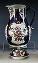 A first period Worcester blue scale ground large baluster milk jug c.1765, with blue square seal mark,