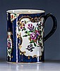 A first period Worcester blue scale ground tankard c.1765, with blue square seal mark and ridged loop handle,