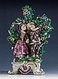 A rare Bow porcelain figure of Harlequin and Columbine c.1765, modelled dancing,