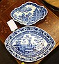 An early 19th century Wedgwood blue and white shallow dish impressed 'Wedgwood' to base, of navette form,