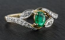A 9ct yellow gold, emerald and diamond ring