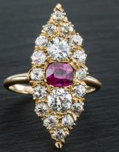 An Art Deco 14ct yellow gold,, ruby and diamond dress ring