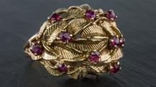 A 1960s 14ct yellow gold and ruby dress ring
