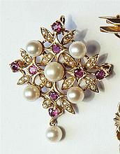 A 9ct gold, amethyst and cultured pearl pendant brooch of diamond floral form, with a single pearl drop to the base, 4.3 x 3.5cm.