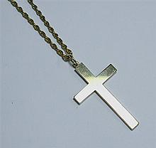 A 9ct gold plain cross and chain the 1¾in. cross on a 22in. chain.