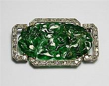 An Art Deco diamond and jade brooch 1930s, probably set in platinum (unmarked),