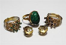 Three yellow gold stone set rings together with a pair of 9ct gold earrings. (5)