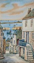 Thomas Herbert Victor (British, 1894-1980) Old Duck Street, 'Mousehole'