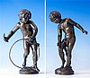 A pair of bronzes of children playing late 19th / early 20th century, after Mathurin Moreau (French, 1822-1912),