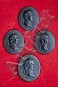 Four Wedgwood oval black basaltes portrait miniatures