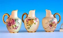A matched set of three Royal Worcester cream jugs shape 1094, puce printed factory marks with date codes for 1904, 1908 and 1912,